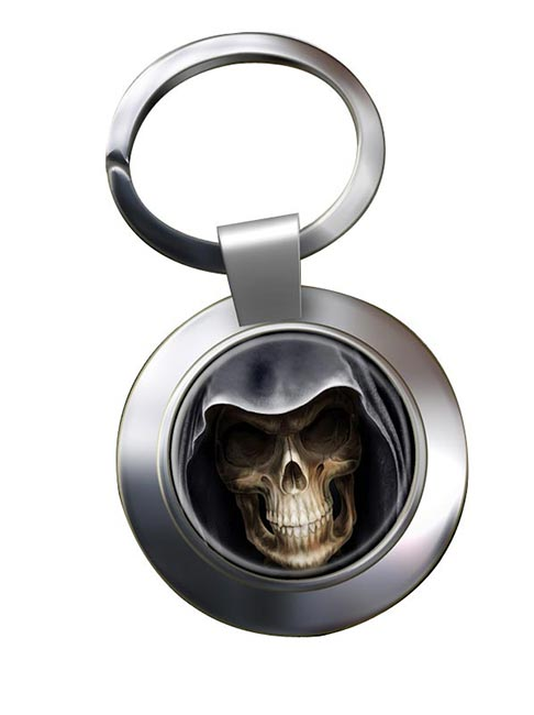 Grim Reaper Leather Chrome Key Ring