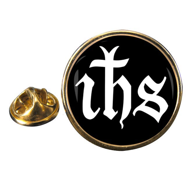 Monogram of Jesus Round Pin Badge