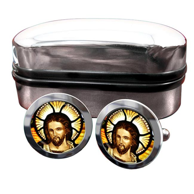 Icon of Christ Round Cufflinks