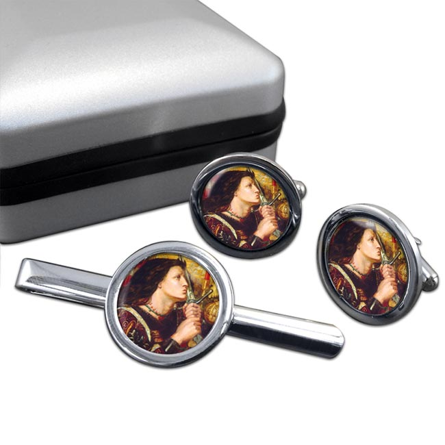 St. Joan of Arc by Rossetti Round Cufflink and Tie Bar Set