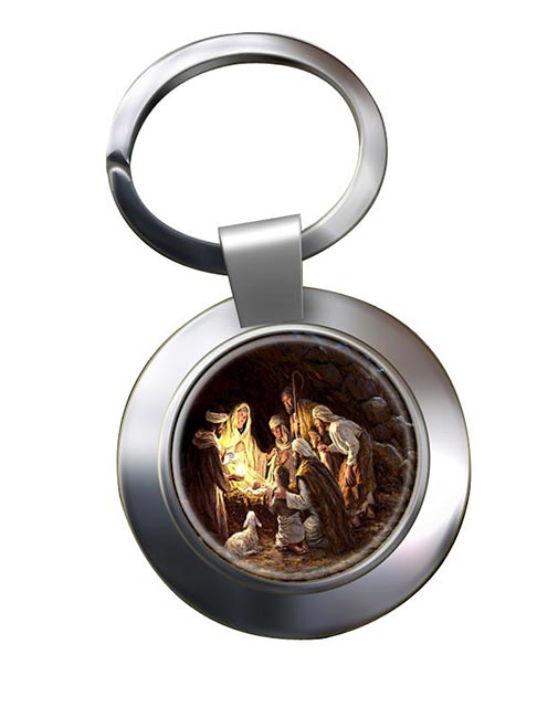 The Nativity Leather Chrome Key Ring