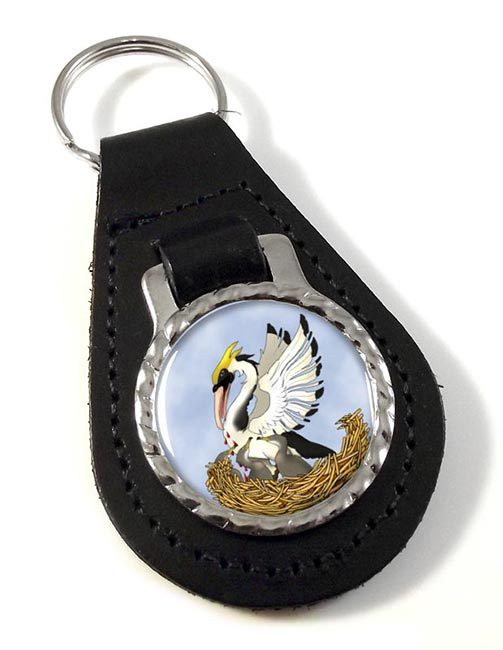 Pelican in Her Piety Leather Keyfob