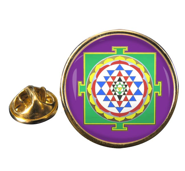 Sri Yantra Round Pin Badge