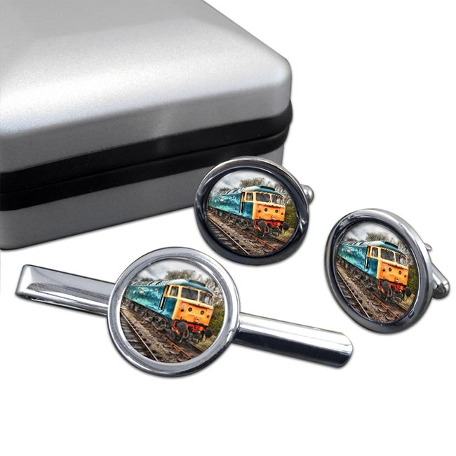 Diesel Locomotive Cufflink and Tie Clip Set