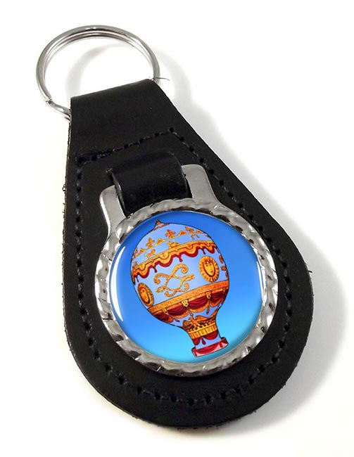 Montgolfier Hot Air Balloon Leather Keyfob