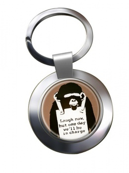 Laugh Now by Banksy Chrome Key Ring