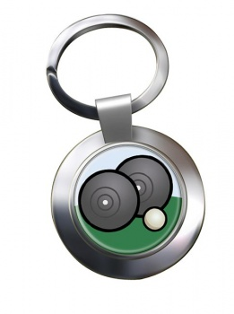 Lawn Bowls Chrome Key Ring