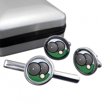 Lawn Bowls Round Cufflink and Tie Clip Set