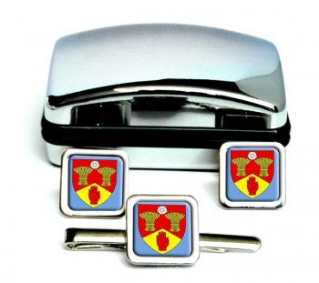 County Londonderry (UK) Square Cufflink and Tie Clip Set