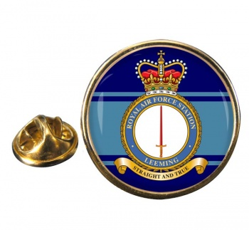 RAF Station Leeming Round Pin Badge