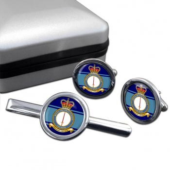 RAF Station Leeming Round Cufflink and Tie Clip Set