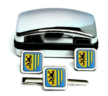 Leipzig (Germany) Square Cufflink and Tie Clip Set