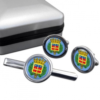 Le Mans (France) Round Cufflink and Tie Clip Set
