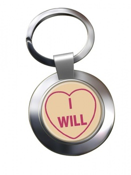 Love Heart I Will Chrome Key Ring