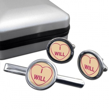 Love Heart I Will Round Cufflink and Tie Clip Sert