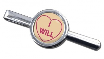 Love Heart I Will Round Tie Clip