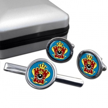Libya King's Crest Flag Cufflink and Tie Pin Set