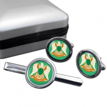 Libya 1977-2011 Round Cufflink and Tie Clip Set