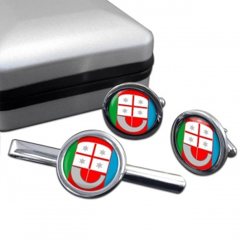 Liguria (Italy) Round Cufflink and Tie Clip Set