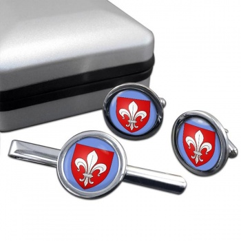 Lille (France) Round Cufflink and Tie Clip Set