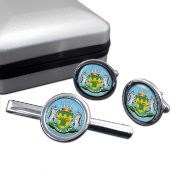 Limpopo (South Africa) Round Cufflink and Tie Clip Set