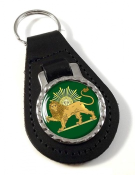 Lion and the Sun Iran Leather Key Fob