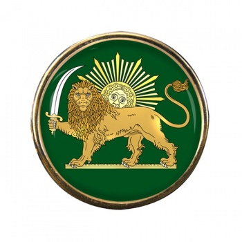 Lion and the Sun Iran Round Pin Badge