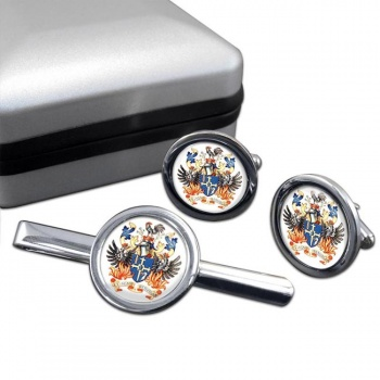 Lisburn (NI) Round Cufflink and Tie Clip Set
