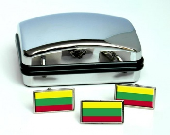 Lithuania Lietuva Flag Cufflink and Tie Pin Set
