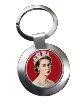 Young Queen Elizabeth II Chrome Key Ring