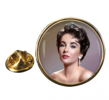 Elizabeth Taylor Round Pin Badge