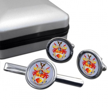 Leighton-linslade Round Cufflink and Tie Clip Set