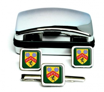 County Laois (Ireland) Square Cufflink and Tie Clip Set