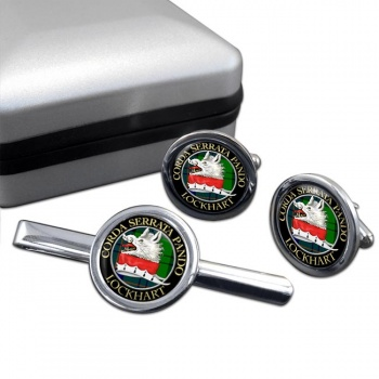 Lockhart Scottish Clan Round Cufflink and Tie Clip Set