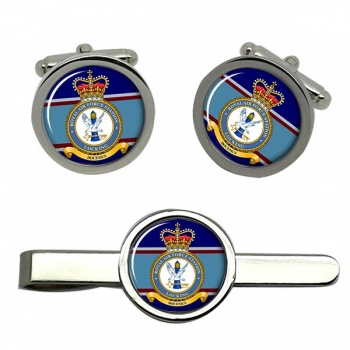 RAF Station Locking  (Royal Air Force) Round Cufflink and Tie Clip Set