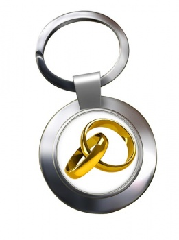 Marriage Interlocking Rings Chrome Key Ring