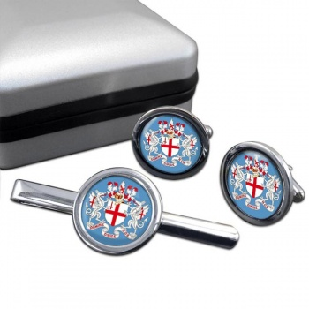 London (England) Round Cufflink and Tie Clip Set