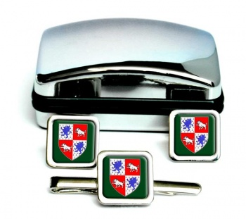 County Longford (Ireland) Square Cufflink and Tie Clip Set