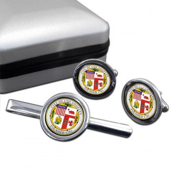 Los Angeles CA  Round Cufflink and Tie Clip Set