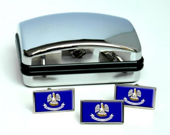 Louisiana  Flag Cufflink and Tie Pin Set
