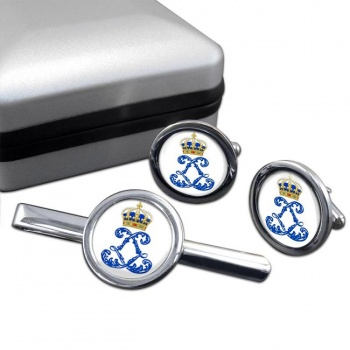 Monogram of Louis XIV (France) Round Cufflink and Tie Clip Set