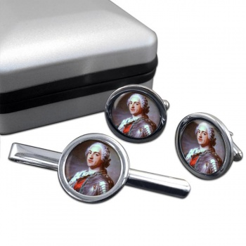 King Louis XV of France Round Cufflink and Tie Clip Set