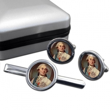 King Louis XVI of France Round Cufflink and Tie Clip Set