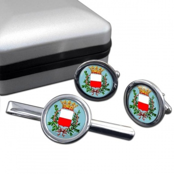 Lucca (Italy) Round Cufflink and Tie Clip Set