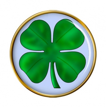 Lucky Four Leaf Clover Round Pin Badge