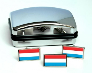 Grand-Duche de Luxembourg Flag Cufflink and Tie Pin Set
