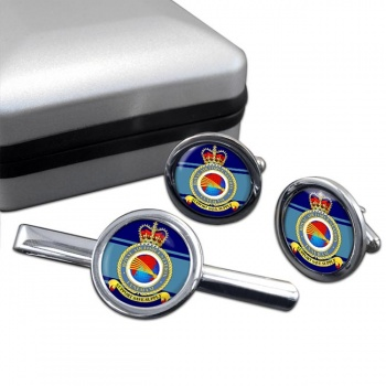 RAF Station Lyneham Round Cufflink and Tie Clip Set
