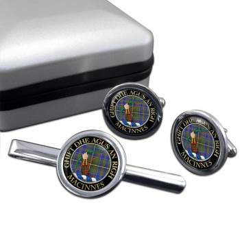 MacInnes Scottish Clan Round Cufflink and Tie Clip Set