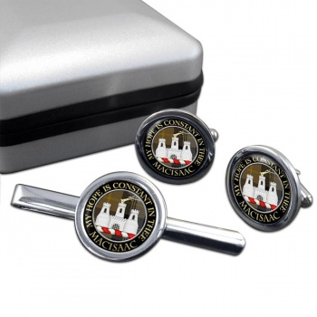 Macisaac Scottish Clan Round Cufflink and Tie Clip Set