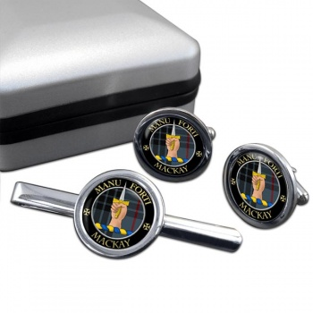 Mackay Scottish Clan Round Cufflink and Tie Clip Set